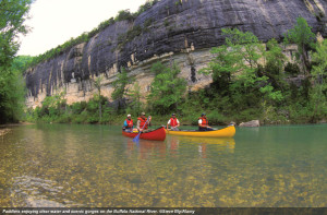 Bluffs along the quiet Buffalo River (click to enlarge or to source).
