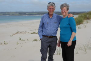 My brother Clive and Sarena plus miles of nobody at Antechamber Bay, which we voted the prettiest and cleanest beach. (Photo courtesy Clive Palmer).