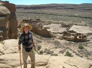Pueblo Bonito from the mesa top (click to enlarge).