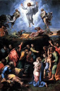 Jesus with three apostles on the Mount of Tansfiguration, followed by problems with a boy in the valley below: by Raphael (click to source or to enlarge).
