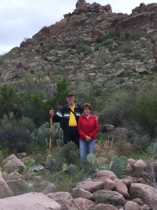 Hiking on First Water trail in Superstition Mountains (click to enlarge).
