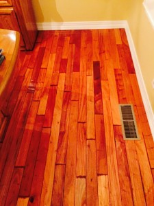 Just a portion of my prized hardwood floor from Brazil covered by an eighth of an inch of water (click to enlarge).