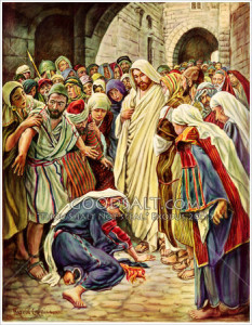 Woman who touched the hem of Jesus' robe: painting by Harold Copping (click to enlarge or to source).